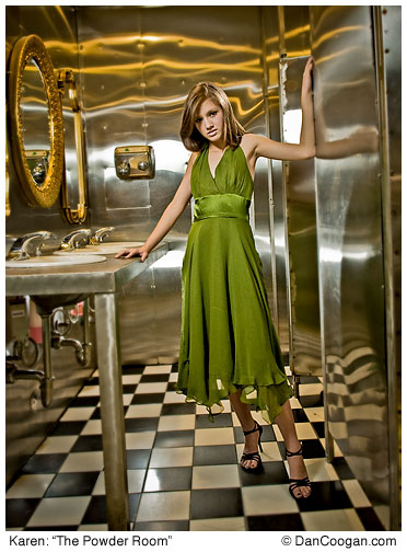 Karen wearing a green dress in the bathroom at Hotel Congrees, Tucson, AZ