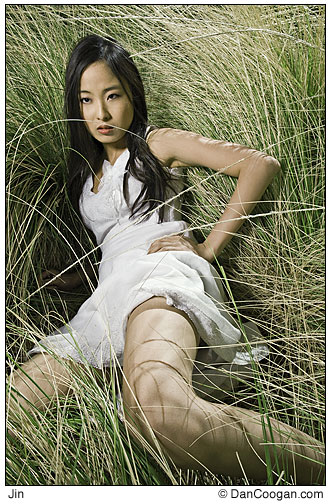 Jin Cha surrounded by high grass, Scottsdale, AZ
